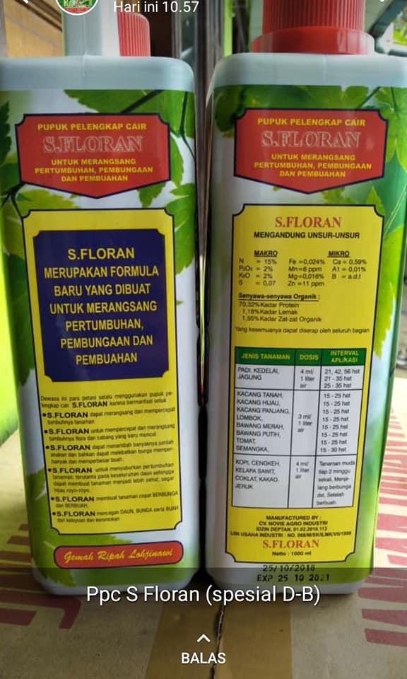 Pupuk daun dan buah pelengkap cair dan perekat dan penembus rata, PO dr PT.Santani Palembang sebanyak 25 ribu box