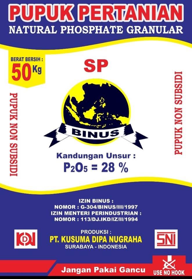 New produk pupuk Phospat Alam Granulan 28% Merek Binus