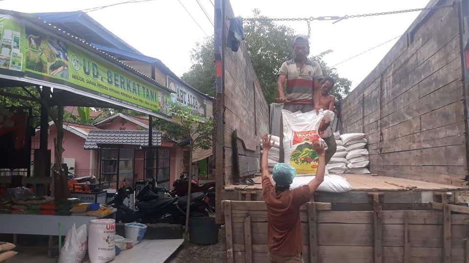 Porses bongkar pupuk hibaflor d kios pertanian aceh