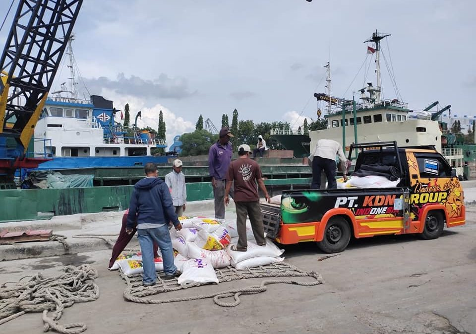 Proses bongkar muat pupuk npk hibaflor di pelabuhan Surabaya tujuan Papua